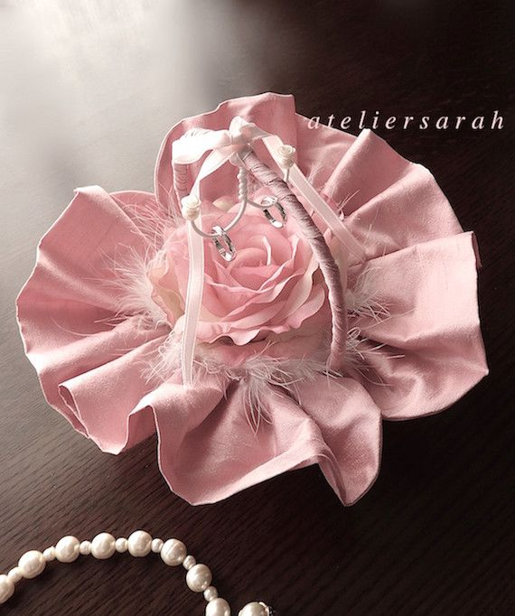 ring pillow with pink silk shantung and rose and feather