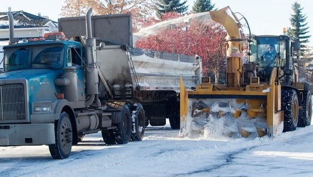 Snow removal crews have been busy recently gathering up and disposing of the large snow build up that occured in St. Albert two weeks ago when the region was hit with an early winter storm which dumped almost 30 cm of snow on the region.