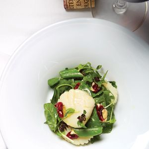 Seasonal greens permeate Oceanas spring tasting menu, in a scallop, snap pea, chervil and red walnut salad