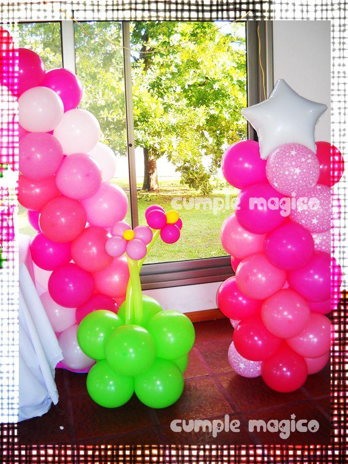 Columnas con estrellas y macetas con flores todo - Decoracion con globos para cumpleanos ...