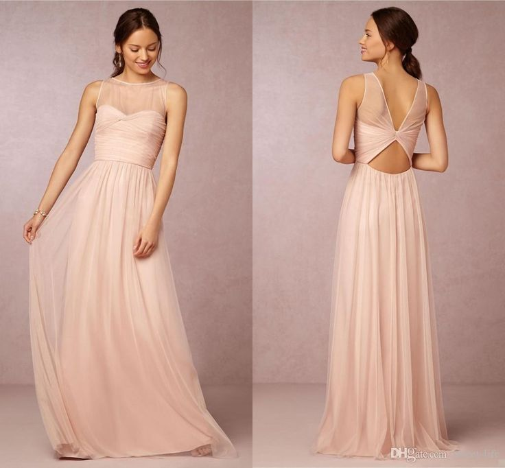 Bridesmaid Dresses 2017 Hot Cheap Crew Neck Tulle Blush Pink Sheer Illusion Hollow Back Long For
