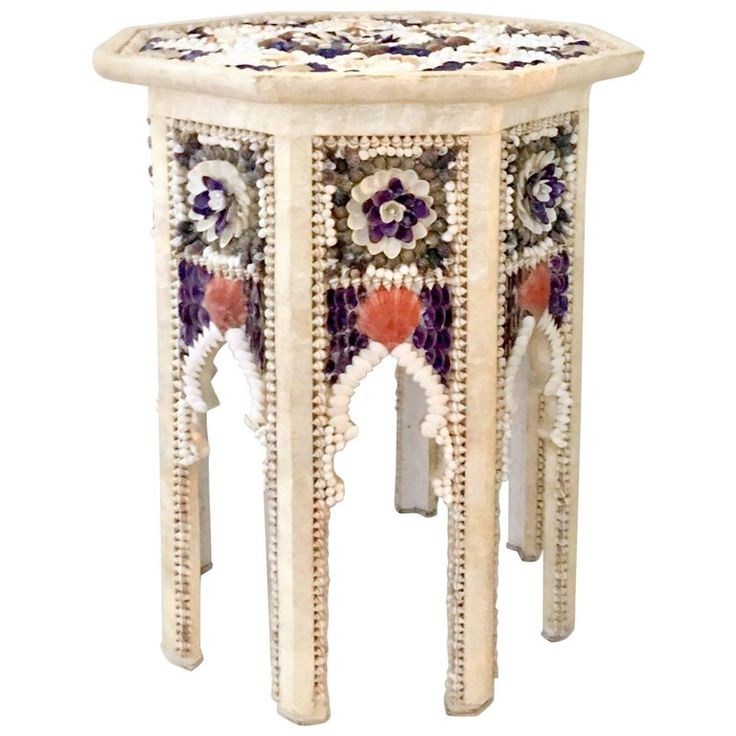 Moroccan Style Mother-of-Pearl and Seashell Encrusted Octagon Table | 1stdibs.com