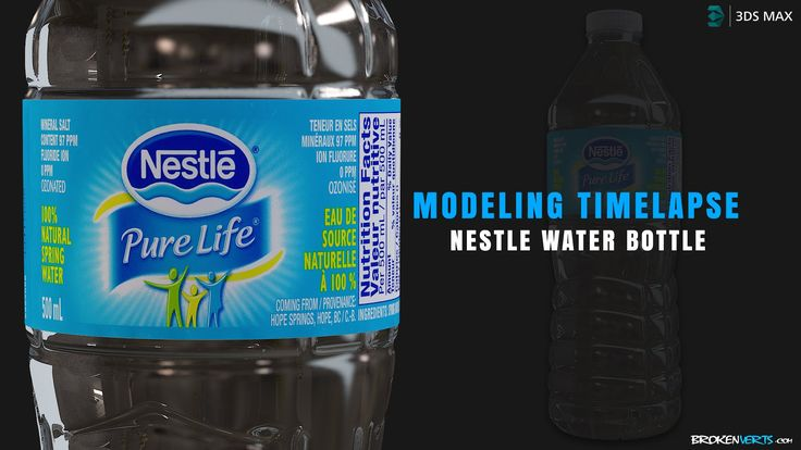 3ds Max Modeling Timelapse - High-res Nestle Water Bottle