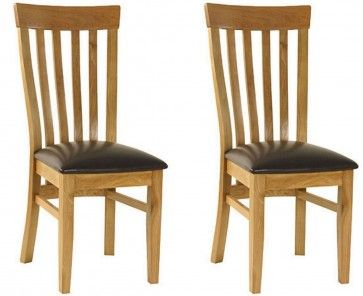 Essentials Oak Slat Back Dining Chair With Faux Seat X 2 GBP19000
