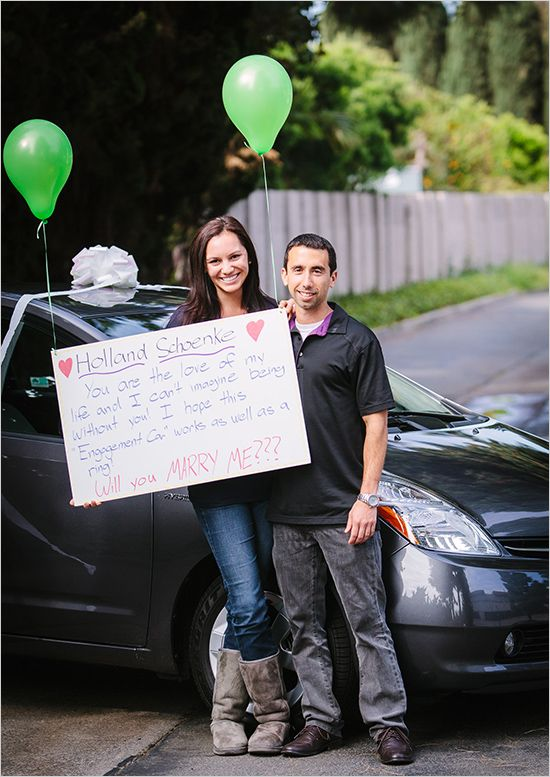 surprise engagement with car instead of ring #engagement #surprise #weddingchicks http://www.weddingchicks.com/2014/02/21/surprise-engagement-session/
