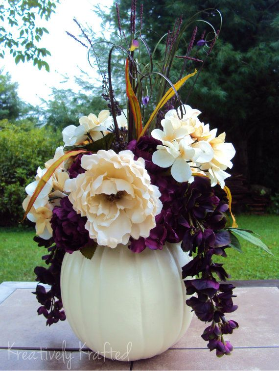 "White / Cream & Purple Plum Eggplant Fall Wedding Pumpkin by KreativelyKrafted... Could use the white pumpkin and change the color scheme so it's not so ""fall"""