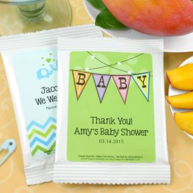 Personalized drink mixes are perfect for gender neutral showers! So many designs to choose from ( AS LOW AS $1.40) Display all in beautiful baskets or place them in drinking glass for guests to take home!