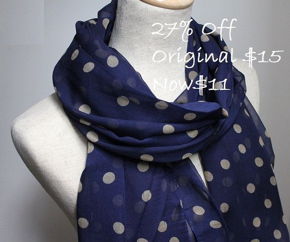 Navy Blue Polka Dot Scarf  On Sale  will NOT by dailyaccessoriez, $11.00