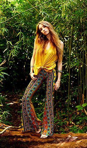 janis bells mustard ethnic floral - Novella Royale - NOVELLA ROYALE   I love printed pants