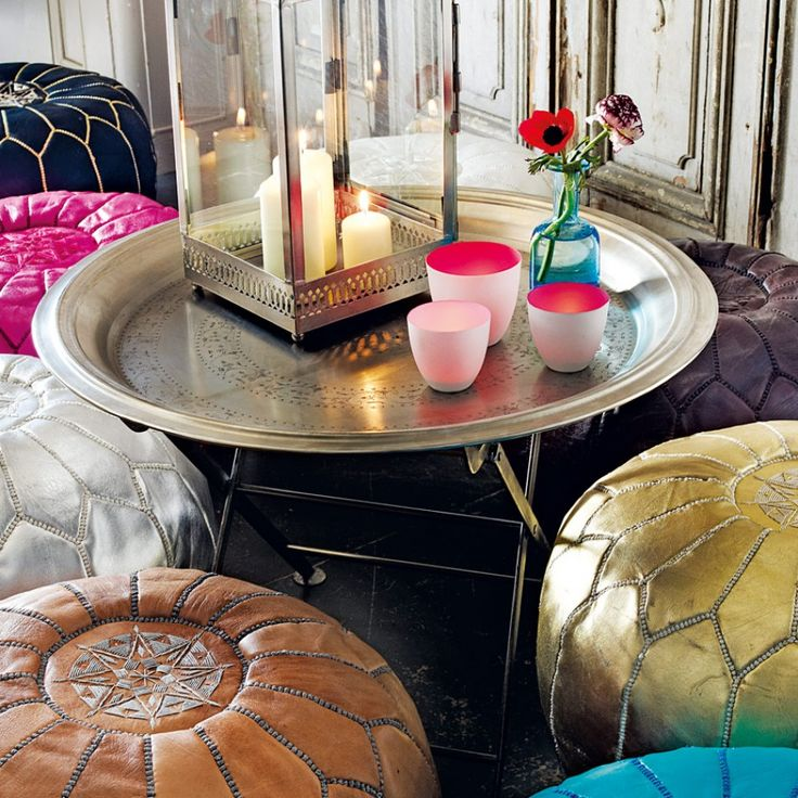 Hand Embossed Iron Round Tray - Side Tables & Coffee Tables - Furniture