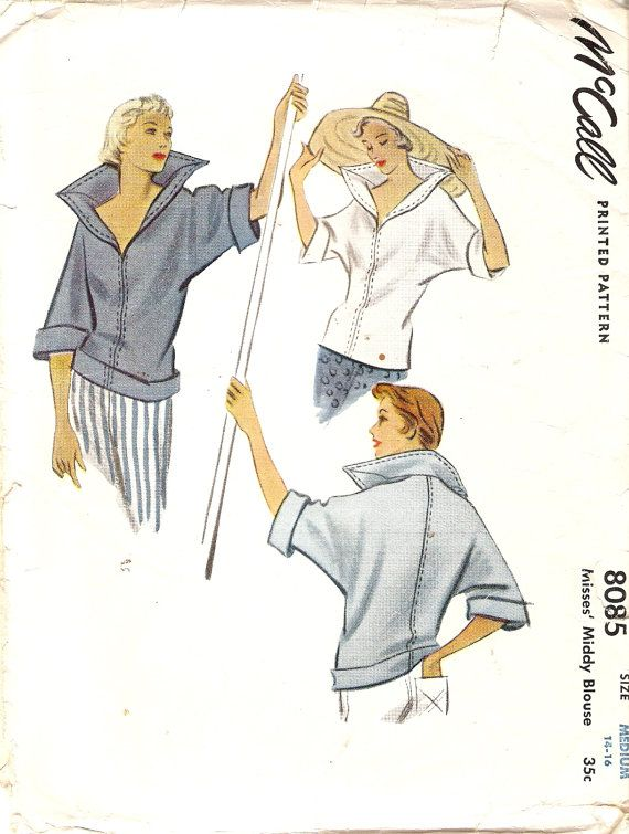 1950 Pull Over Top Pattern V Neckline Convertible by CherryCorners, $35.00