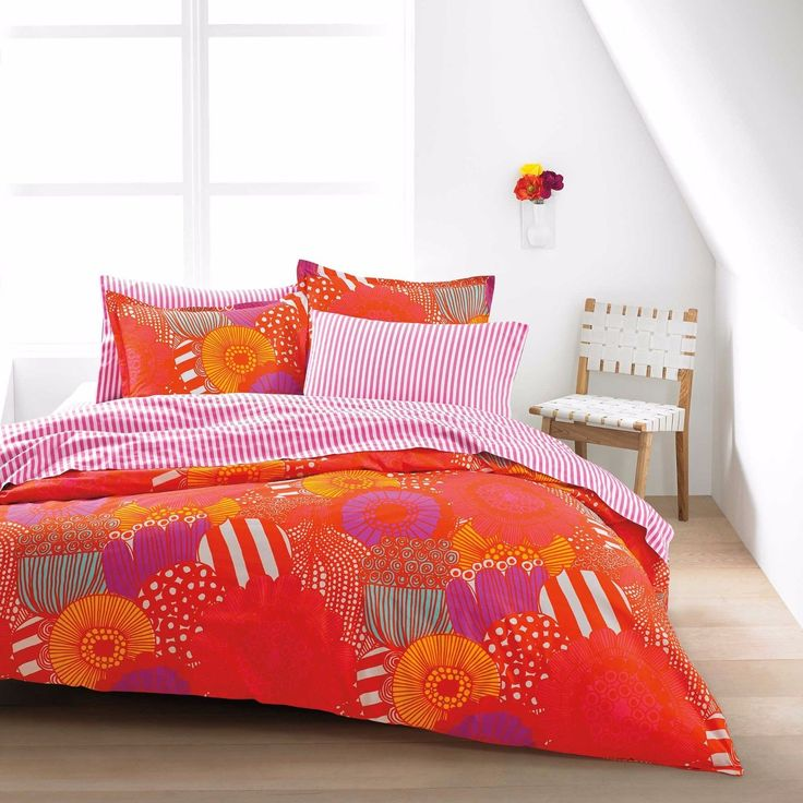 details about marimekko king duvet cover set in orange new in package