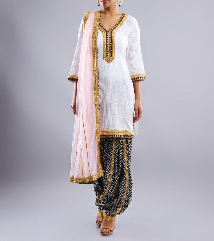 White & Black Cotton Patiala Salwar Kameez With Pintucks