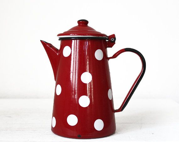 Beautiful vintage FRENCH red Enamel Coffee POT by RueDesLouves