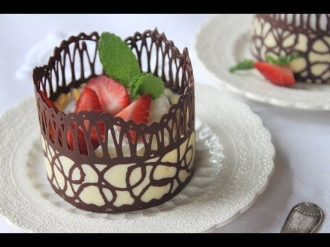 Chocolate Lace Dessert Cups ~ The bottom part is dark & White chocolate. Sooo impressive looking ...M