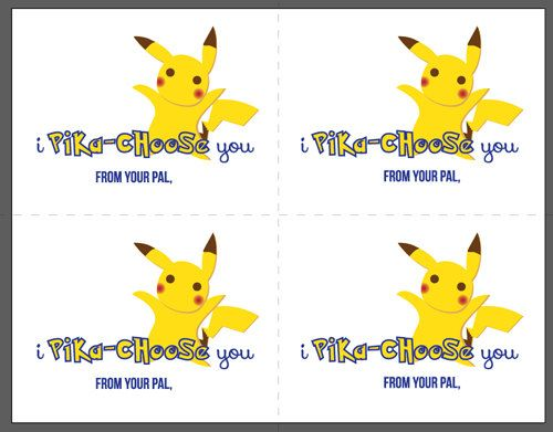 PRINTABLE POKEMON Valentine's Day cards for school at https://www.etsy.com/listing/218115487/printable-pokemon-valentines-day-card