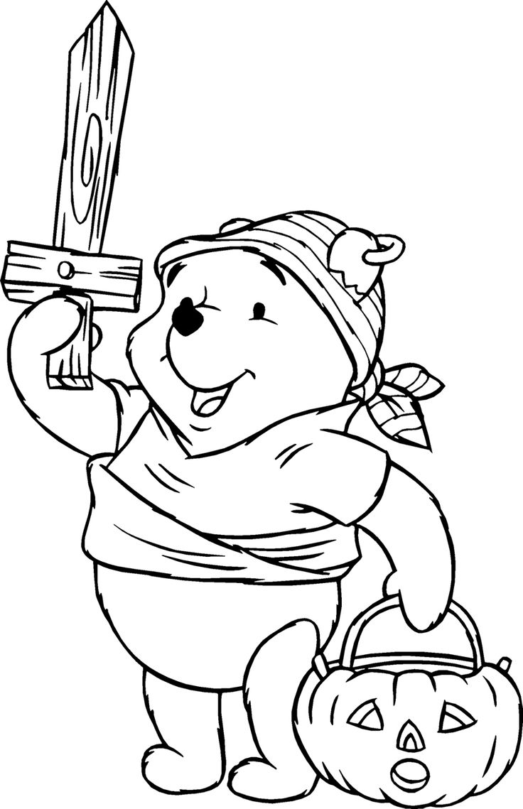 Colouring in sheets for halloween - Pooh Halloween Coloring Pages