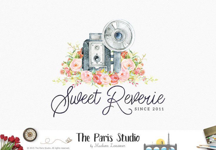 Watercolor Camera Floral Logo Design - photography logo, website logo, boutique logo