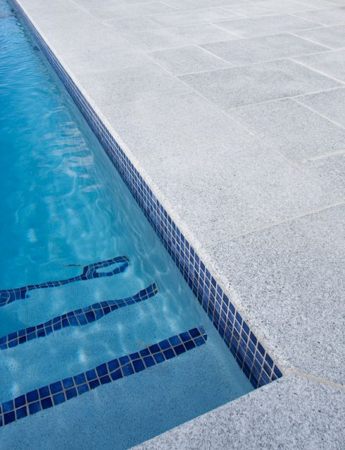 Casper White Granite Exfoliated Pavers, Granite Pool Coping, Bullnosed Pool Coping, Natural Stone, Granite