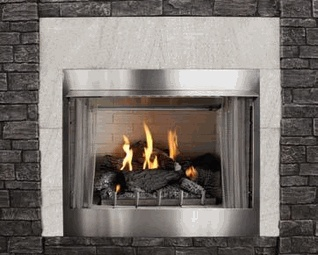This outdoor fireplace is perfect for a porch or patio. Premium Traditional Stainless Steel Outdoor Gas Fireplace with Intermittent Pilot and Seven-Piece Refractory Log Set - 36 Inch $1720.80 efireplacestore.com