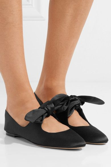2ad910d5e528 The Row Elodie Bow-embellished Satin Ballet Flats - Black