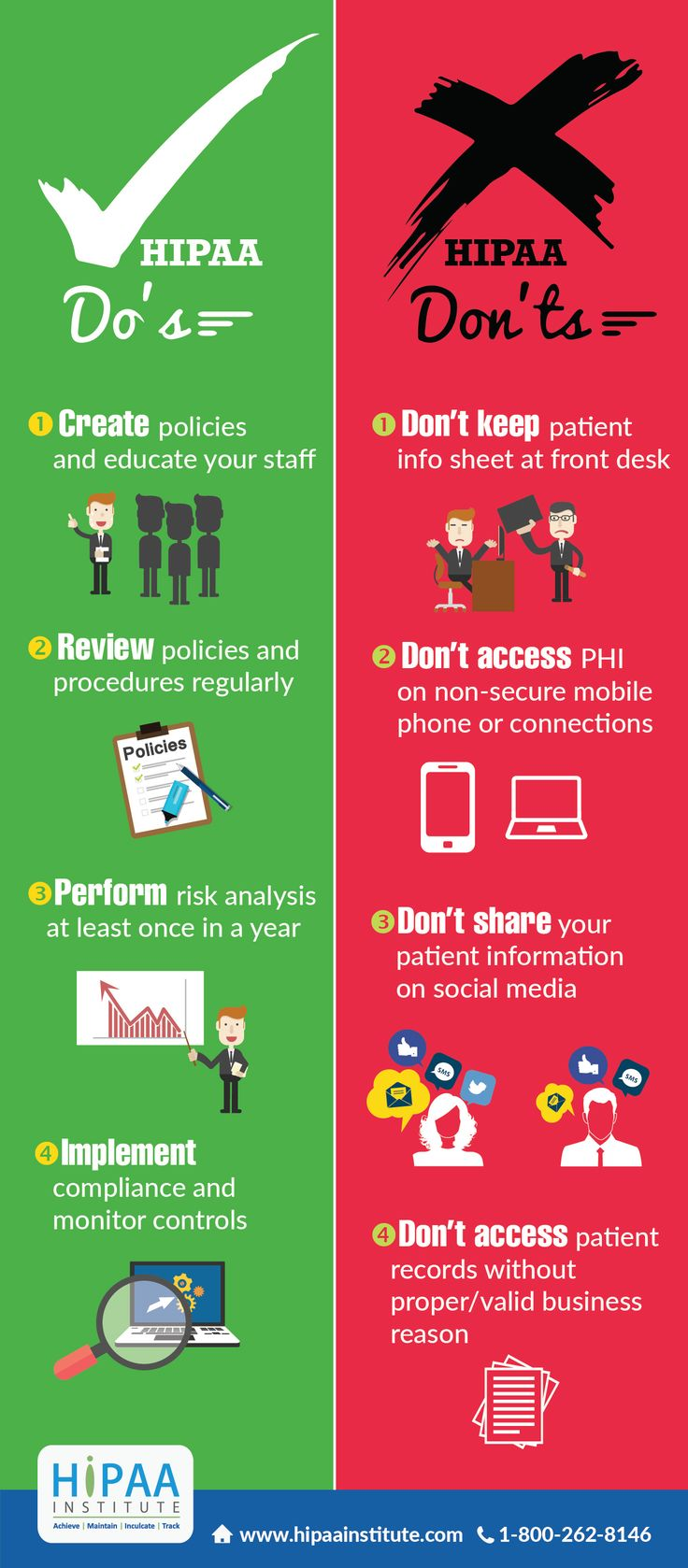 Here are the Do's & Don'ts of HIPAA Compliance from the HIPAA Institute.