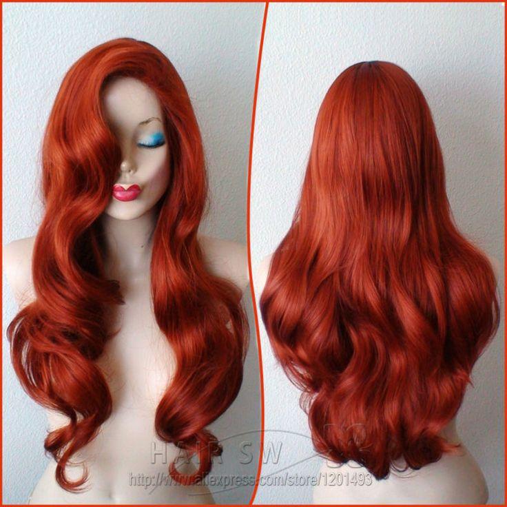 Джессика кролик косплей медные красные волосы длинные волнистые прическа парик. Хэллоуин красный костюм парик. Взрослые костюмы гладкий парики купить на AliExpress