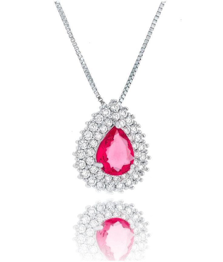Colar gotinha clássica rubi em ródio semi joia de luxo