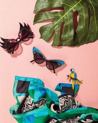°★ ☽ FORGET ME NOT ☾ ★ ° scarf - refinery 29 - fun sunglasses - tropical inspiration - set design - style life magazine