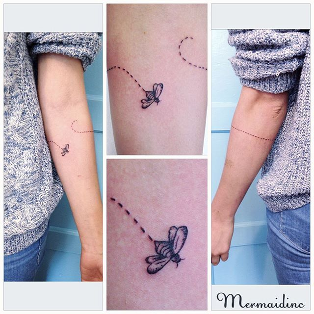 Tiny little bee tattoo                                                                                                                                                     More