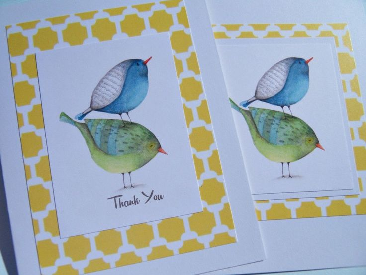 Thank You Cards - Bird Note Cards - Shower Thank You Cards - Wedding Gift Thank You Cards - Hosstess Gits - Blue Green Birds -  bnc1 by suziescards on Etsy