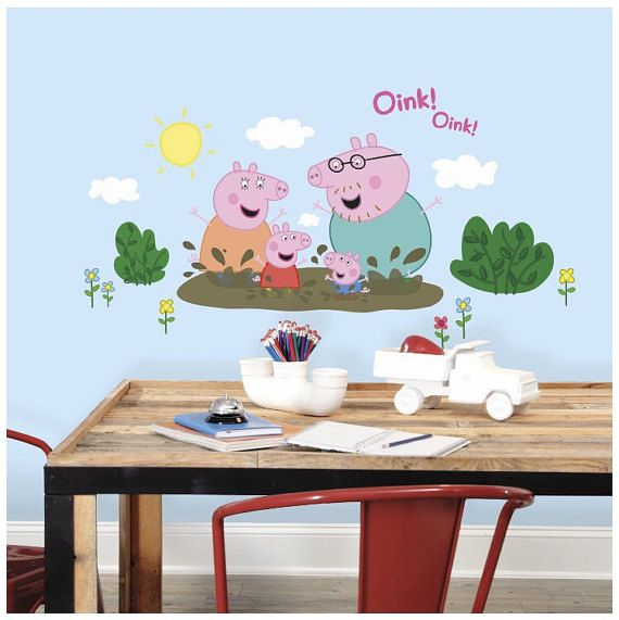 Peppa pig bedroom birthday stick and peel wall decal decoration