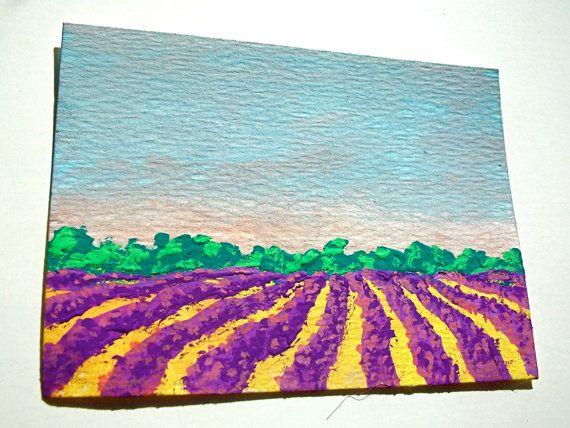 лаванды поле Banstead, графство Суррей, Великобритания # 120 (ХУДОЖНИК торговые карты) 6,35 см х 8,89 см по Майк Kraus