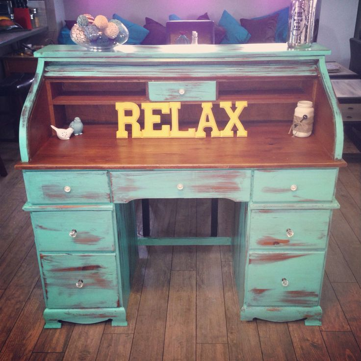 Shabby chic roll top desk painted in Van Gogh