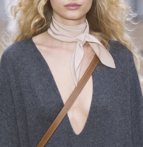 Love this simple blush pink neckerchief with the grey v neck sweater for fall!