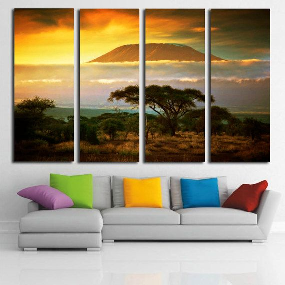 Mount Kilimanjaro Large Canvas Print, Tropics Forest Wall Canvas Art, Nature Split Canvas, Extra Large Wall Art, Mountain Wall Decor by…
