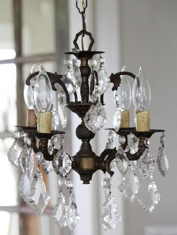 Antique Brass Four Light Crystal Chandelier Gorgeous Patina