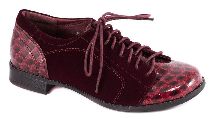 Pantofi fara toc - Pantofi burgundy cu siret 51804B - Zibra
