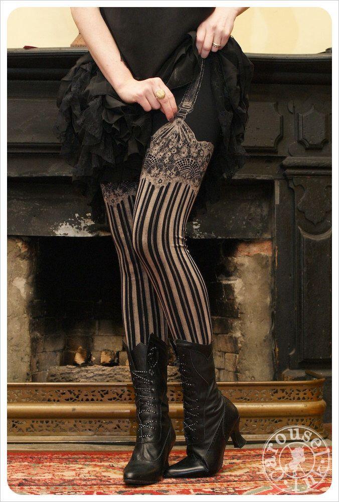Burlesque Leggings - Bleach Yoga Leggings - BLACK - Garter leggings - printed Tights - suspender tights by Carouselink on Etsy https://www.etsy.com/listing/157029520/burlesque-leggings-bleach-yoga-leggings