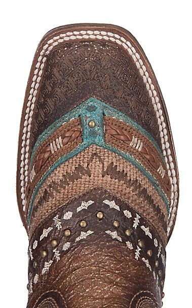 Corral Women's Turquoise and Brown w/ Embroidery and Studs Western Square Toe Boots | Cavender's