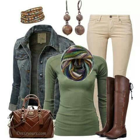Love the color palette here... the green top, ivory jeans & boots I have a jean jacket that is very similar.
