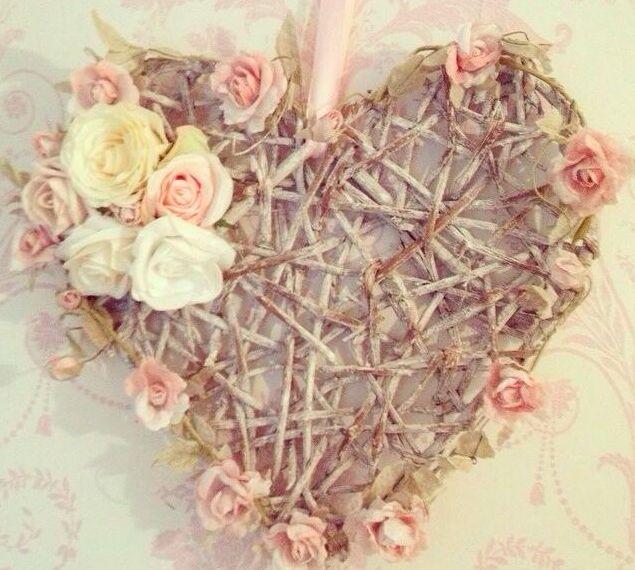 handmade hanging floral heart wreath