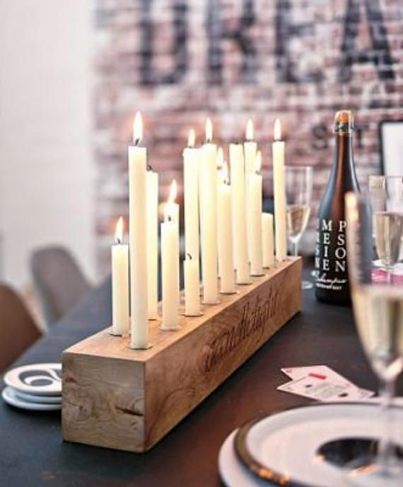 Rustic candle holders, candle holders, wood candle holders, centerpiece