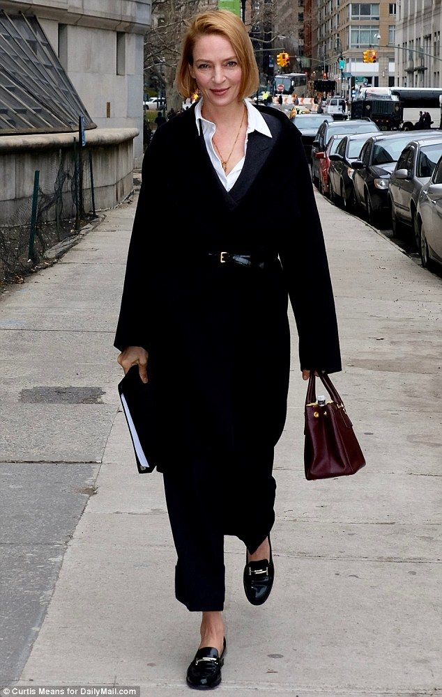 Uma Thurman arrives to court today to sign off on the custody agreement she reached with her ex Arpad Busson over their four-year-old daughter, Luna. Busson is not in court today