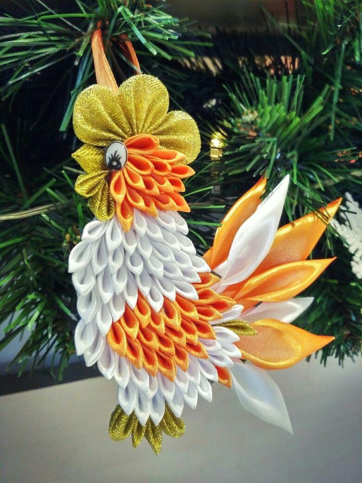 Rooster kanzashi handmade  Петух канзаши на елке в МебельОк www.mebelok.com
