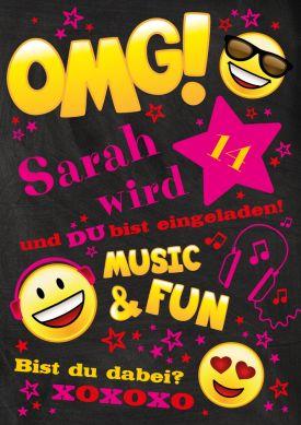 Einladungskarte Zur Geburtstagsparty Für Teenies Mit Emojis Und Text OMG