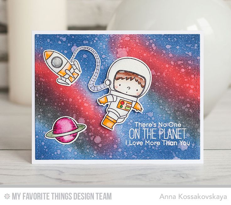 Space Explorer Stamp Set and Die-namics, Wonky Stitched Rectangle STAX Die-namics - Anna Kossakovskaya  #mftstamps