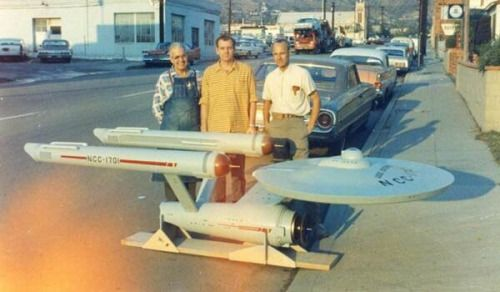 The first photo of the USS Enterprise model and the men who built it, 1965. via reddit