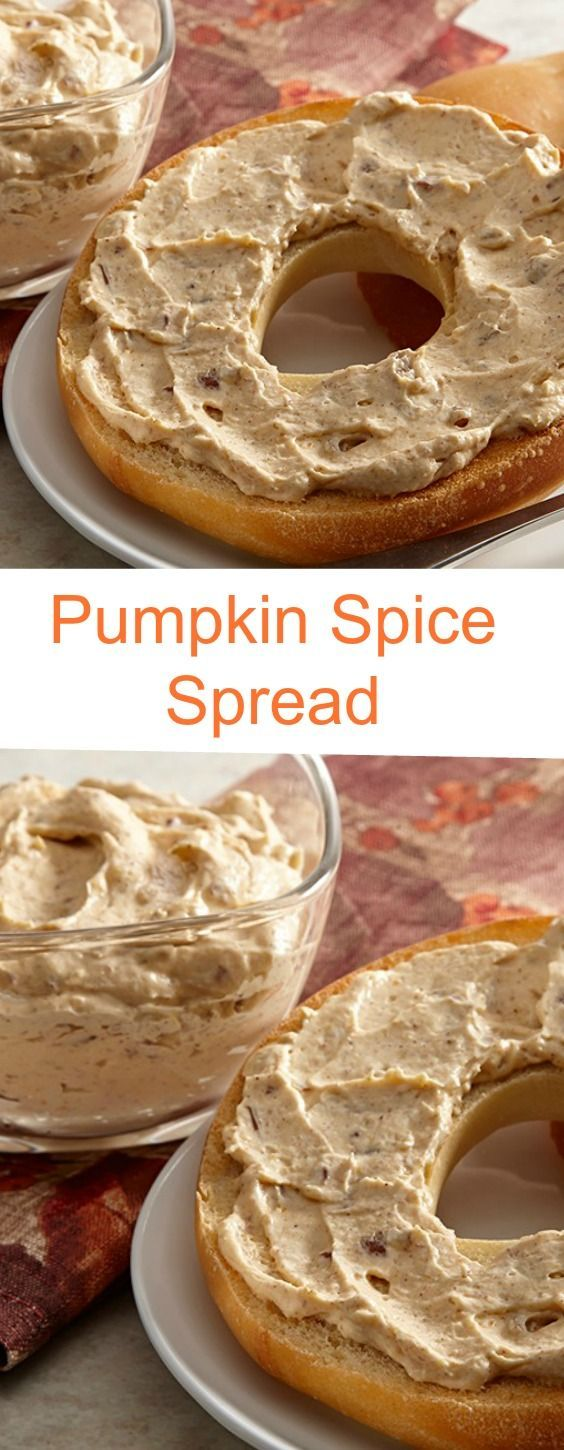 Pumpkin Spice Spread: This cream cheese spread has the flavors of fall holidays – pumpkin, pumpkin pie spice and pecans. Serve on bagels, muffins or apple slices.