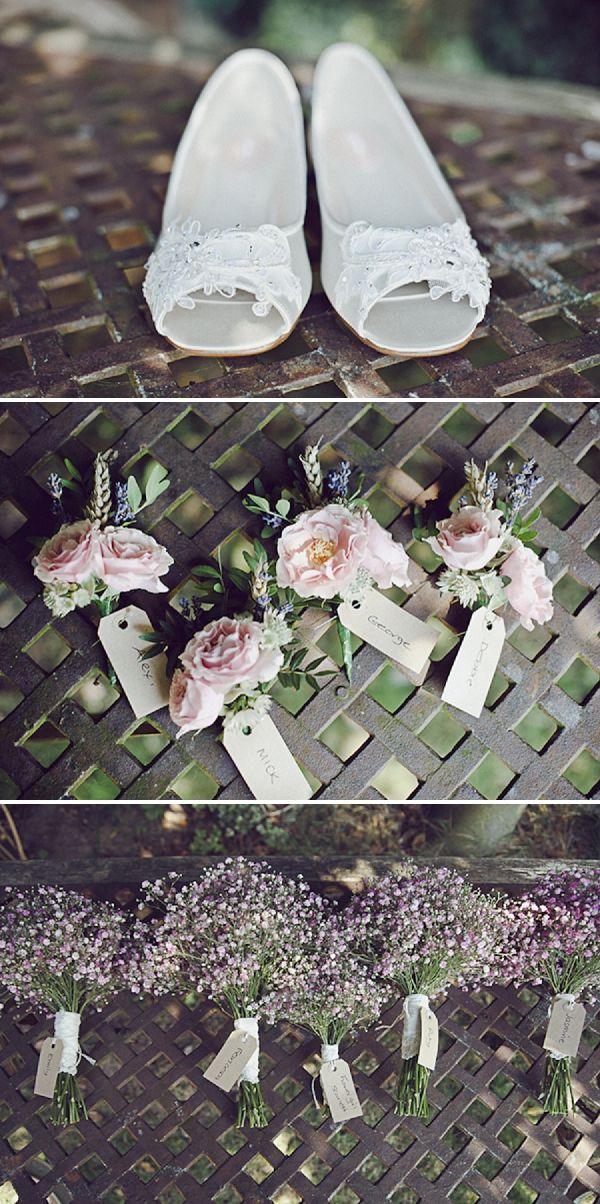 pastel wedding flowers,  bouquets, buttonholes, image by Ellie Gillard